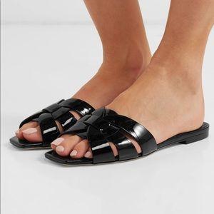YSL nu pieds slides sandals size 6 36 shiny black